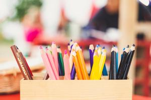 image of pencils on desk