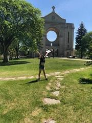 Alicia  in front of cathedral
