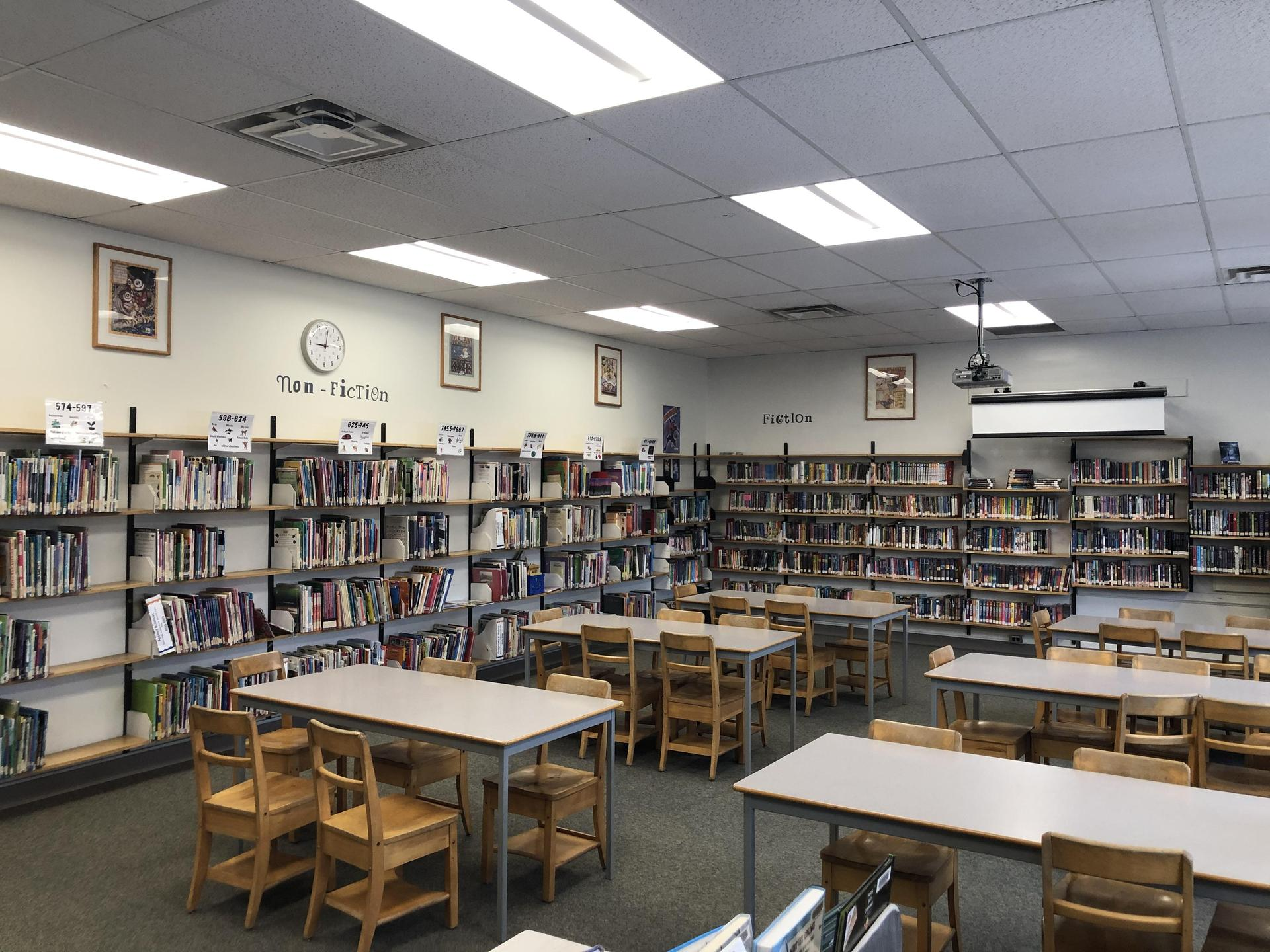 Our collaborative work area and Non-Fiction section