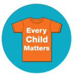Every Child Matters logo: orange shirt with white letters on turquoise circle