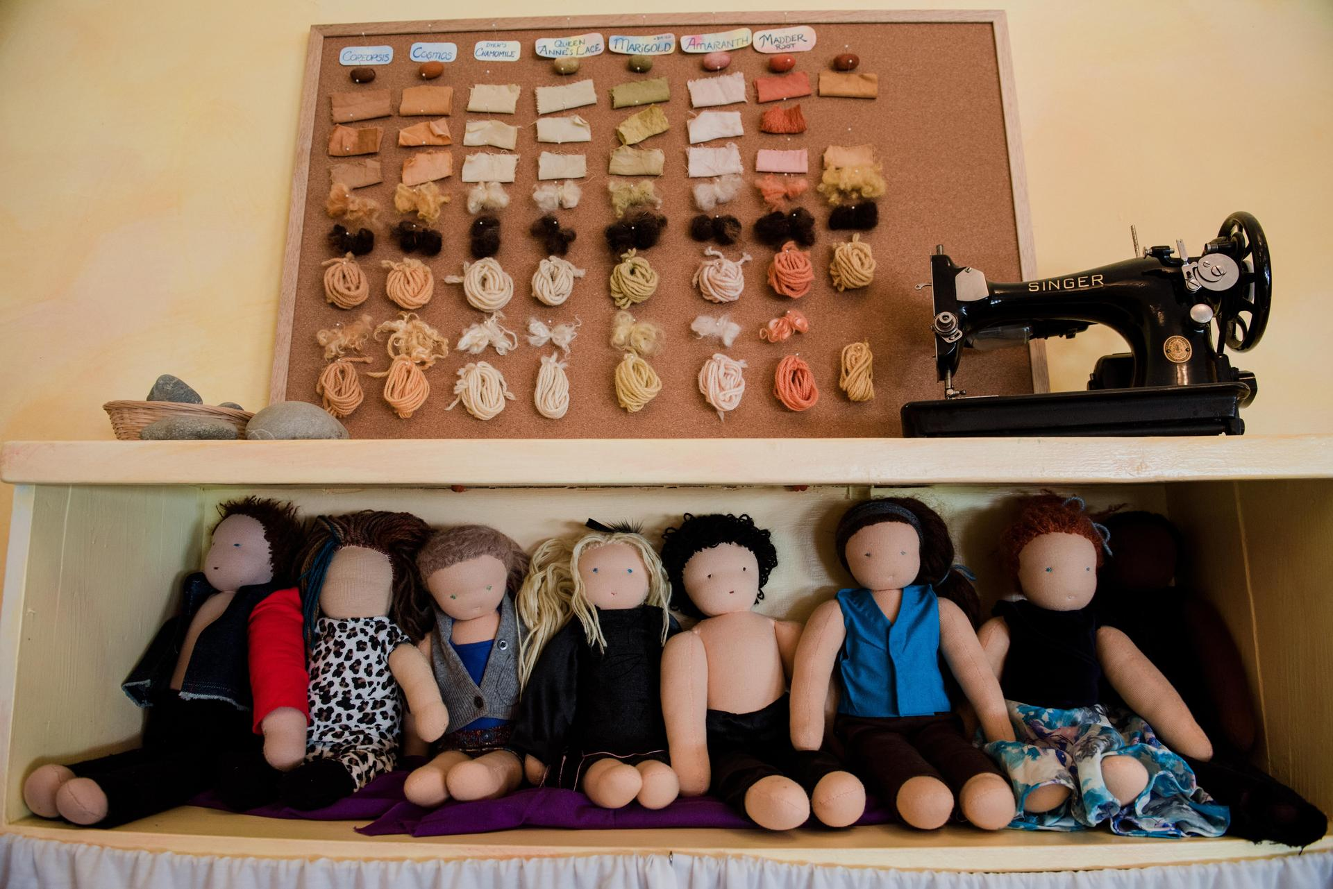 Display of hand made dolls