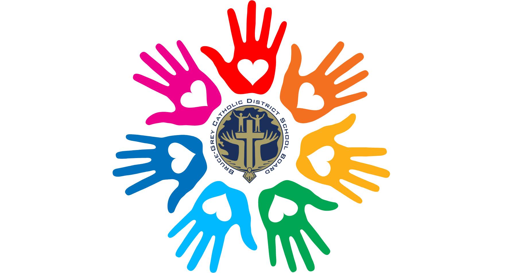 BGCDSB logo with multi-coloured hands surrounding it.