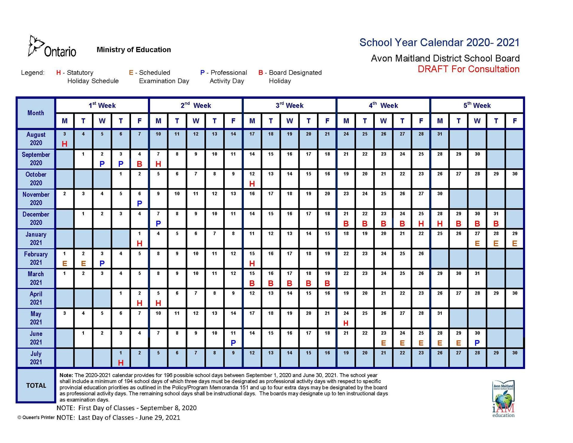 draft school year calendar for the 2020-2021 school year outlining pa days, holidays and exam days