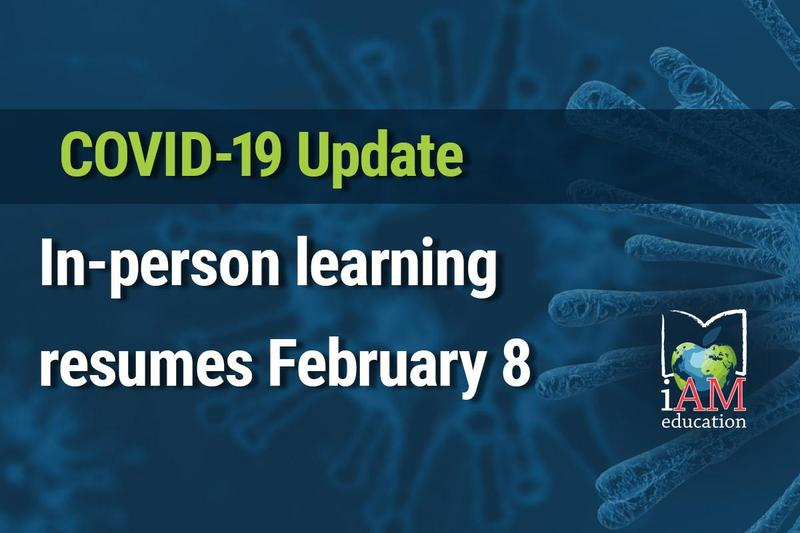 Blue background with AMDSB logo and text - COVID-19: In-person learning resumes February 8