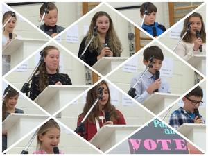 Collage of Student Council candidates speaking