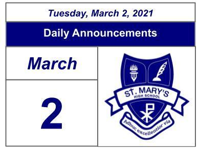 Daily Announcements - Tuesday March 2, 2021 Featured Photo