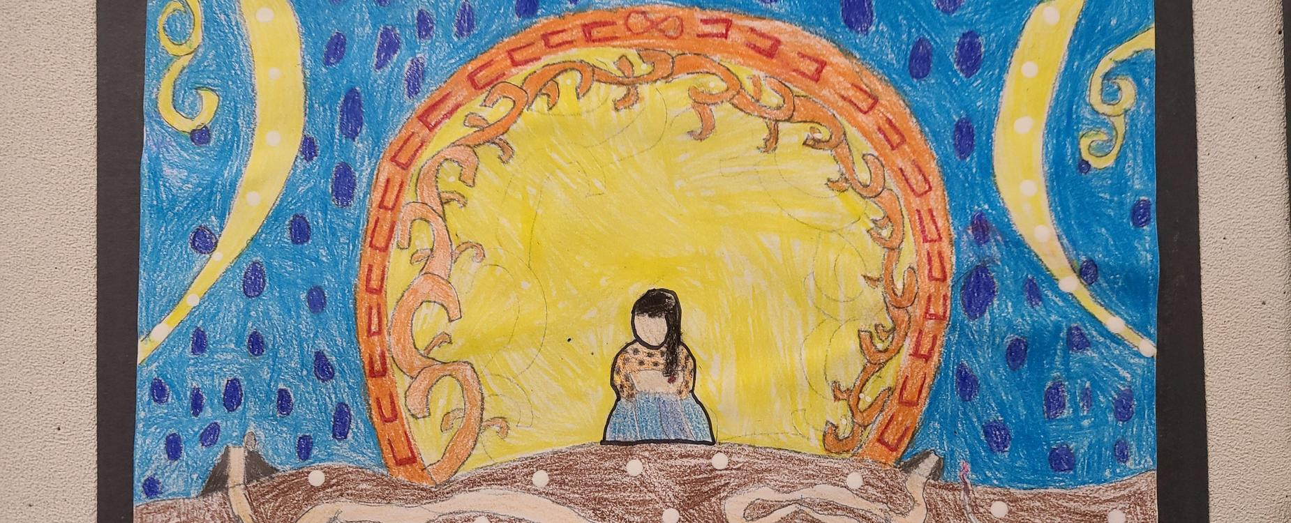 Metis artwork of a woman sitting on the ground, with a large sun at her back, and the blue sky in the background