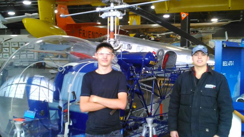 Students and helicopter