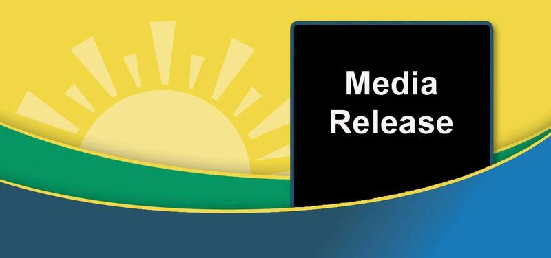 The Sunrise Logo - A sun with green and blue swishes underneath it.  Words reading:  Media Release.