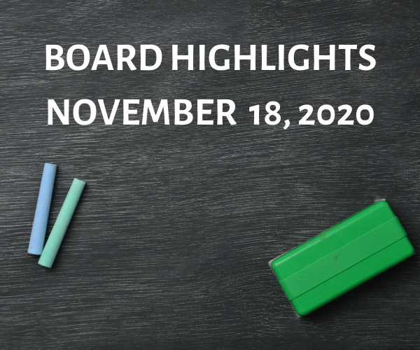 Board Highlights-November 18, 2020 Featured Photo
