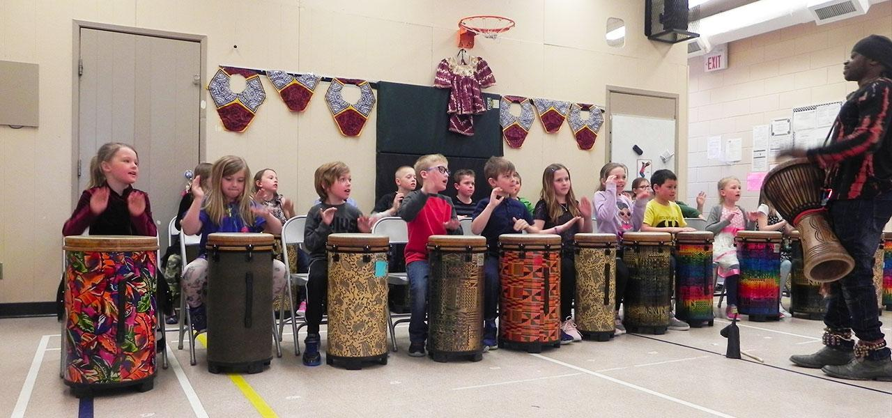Hazelridge students drumming.