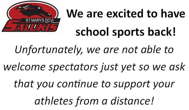 We are excited to have school sports back!  Unfortunately, we are not able to  welcome spectators just yet so we ask that you continue to support your  athletes from a distance!
